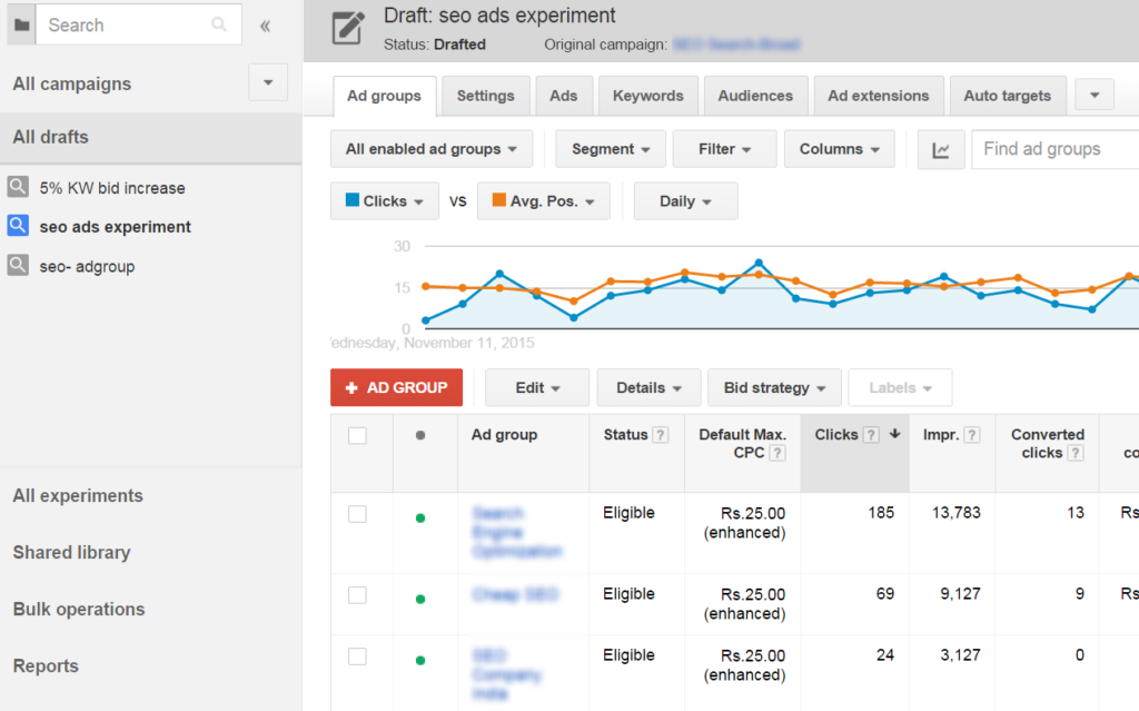 adwords-draft view