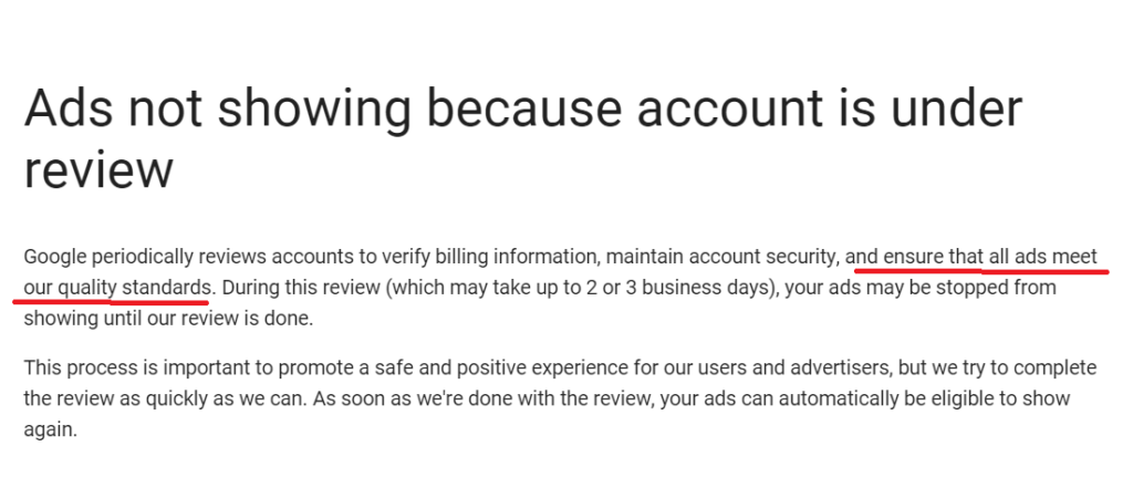 Why Adwords account goes under review