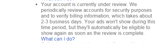 Your account is currently under review