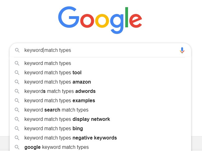 GoogleAds Keywords Match Type